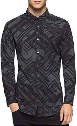 Calvin Klein Men's Slim Fit Geometeric Camo Print Long Sleeve Button Down Shirt