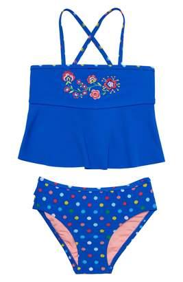 Hula Star Confetti Flower Two-Piece Tankini Swimsuit
