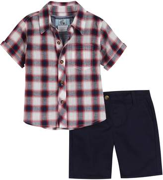 Pippa Little Brother by & Julie Plaid Shirt, Stripe Tank Top & Shorts Set