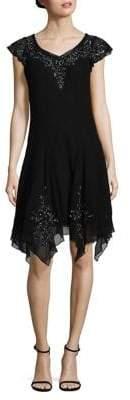 J Kara Cap Sleeved Beaded Dress