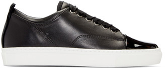 Lanvin Black Leather Sneakers $595 thestylecure.com