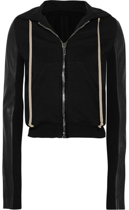Rick Owens - Leather-paneled Cotton-jersey Hooded Top - Black $985 thestylecure.com