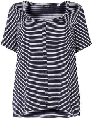 Dorothy Perkins Womens **Dp Curve Navy And White Stripe Button Down Rib T