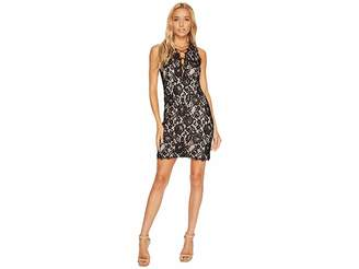 Aidan Mattox Sleeveless Plunging Lace Cocktail Dress with Strapping Women's Dress