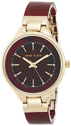 Anne Klein Women's AK/1408BYBY Swarovski Crystal Accented Gold-Tone and Burgundy Shimmer Resin Bangle Watch