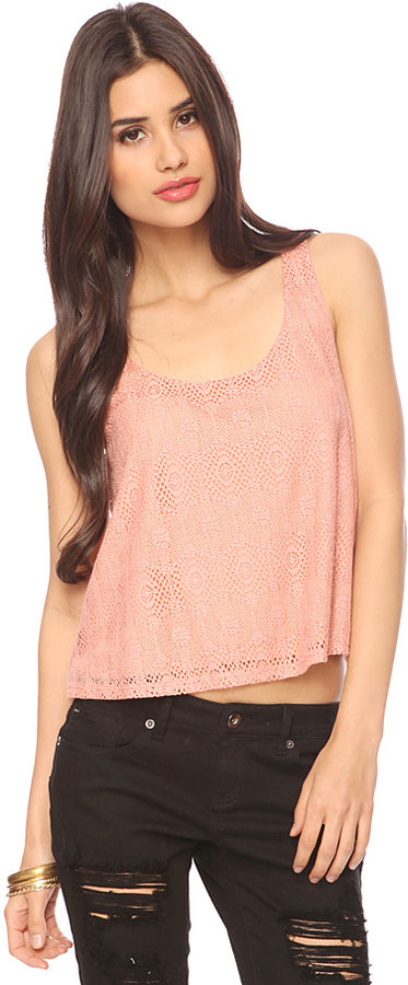 Forever 21 Lace Overlay Crop Tank