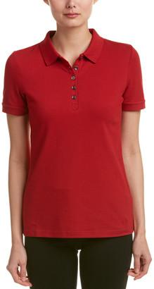 Burberry Stretch Cotton Check Trim Pique Polo Shirt