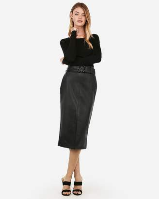 Express Minus The) Leather High Waisted Belted Midi Pencil Skirt