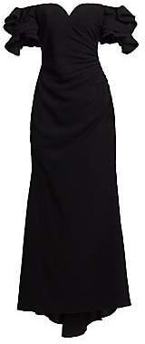 Badgley Mischka Women's Origami Sleeve Off-The-Shoulder Gown