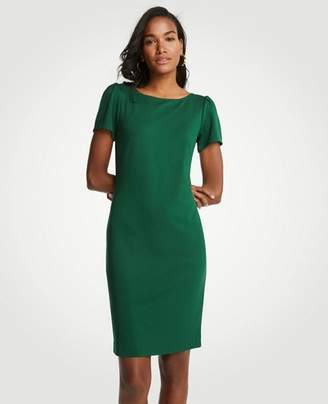 Ann Taylor Puff Sleeve Ponte Sheath Dress