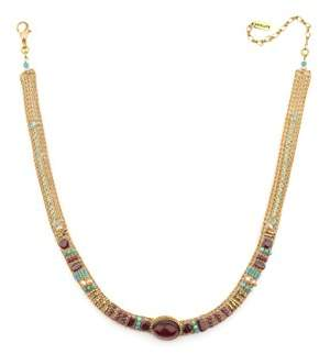 Satellite Women's Gold Plated Multicolour Stones Freshwater Pearls Plum On-trend Gabriella Necklace