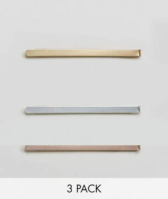 Asos DesignB London DesignB Pack Of 3 Tie Bars In Gold Silver & Rose Gold Exclusive To
