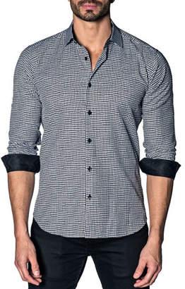 Jared Lang Men's Modern-Fit Houndstooth Long-Sleeve Shirt