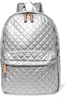 MZ Wallace Metro Leather-trimmed Metallic Quilted Shell Backpack
