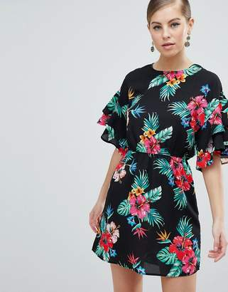 AX Paris 3/4 Sleeve Tropical Print Dress