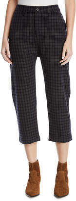 The Great The Saddle Cropped Plaid Trousers