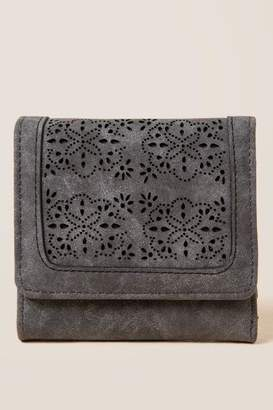 francesca's Jordana Perforated Trifold Wallet - Gray