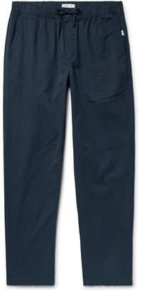 Onia Jimmy Slim-fit Cotton-twill Drawstring Trousers - Midnight blue