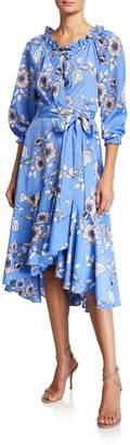 Eliza J 3/4-Sleeve Faux-Wrap Midi Dress