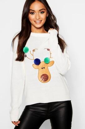 boohoo Petite Reindeer Pom Pom Christmas Jumper