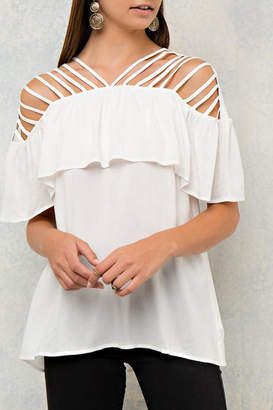 Entro White Ruffle Top