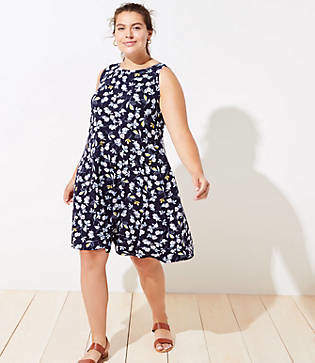 LOFT Plus Floral Flounce Sleeveless Swing Dress