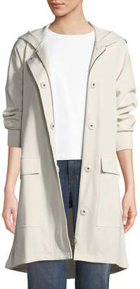 Eileen Fisher Hooded Long-Sleeve A-Line Coat w/ Dual-Front Closure & Pockets