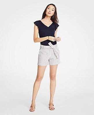 Ann Taylor Stripe Marina Tie Waist Shorts