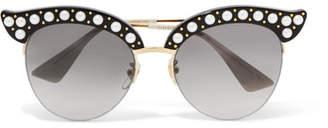 Gucci Embellished Cat-eye Acetate And Gold-tone Sunglasses - Black