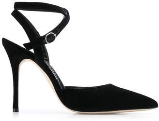 Manolo Blahnik velvet strappy sandals