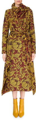 Roland Mouret Fairbanks High Wrap-Neck Floral Tapestry-Jacquard Calf-Length Coat w/ Fringe