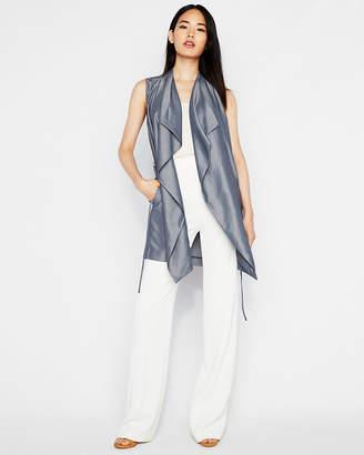 Express Chambray Sleeveless Drape Tie Jacket