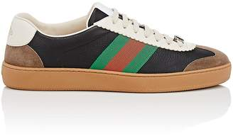 Gucci Men's Web-Striped Leather & Suede Sneakers
