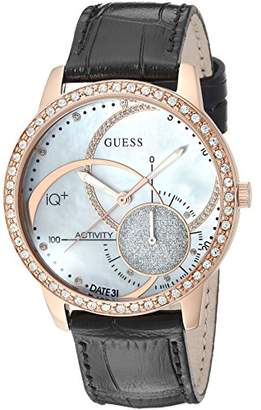GUESS Women's Stainless Steel Connect Fitness Tracker Leather Watch