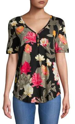 Lord & Taylor Floral-Print Short-Sleeve Blouse