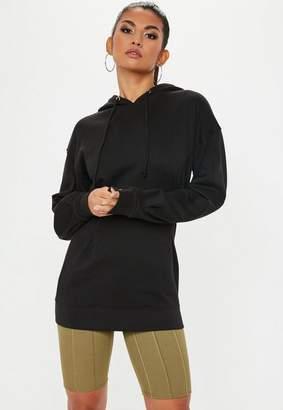 Missguided Black Pleated Waist Long Sleeve Hooded Sweatshirt