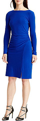 Lauren Ralph Lauren Long Sleeve Ruched Solid Jersey Sheath Dress $139 thestylecure.com