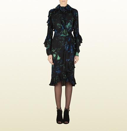 Gucci Potpourri Print Silk Georgette Dress With Ruffles
