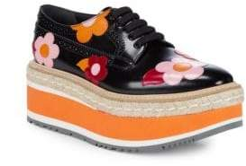 Prada Flower-Print Platform Espadrille Leather Oxfords