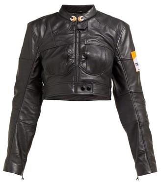 Marine Serre Cropped Upcycled Leather Jacket - Womens - Black