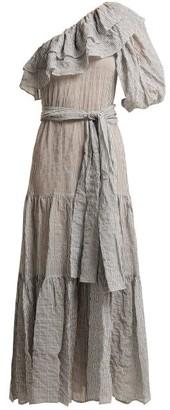 Lisa Marie Fernandez Arden Ruffle Trim Cotton Blend Dress - Womens - Black Stripe