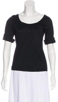 Prada Sport Scoop Neck Three-Quarter Sleeve Top