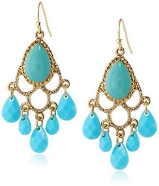 1928 Jewelry Domenica Gold-Tone Turquoise Chandelier Drop Earrings