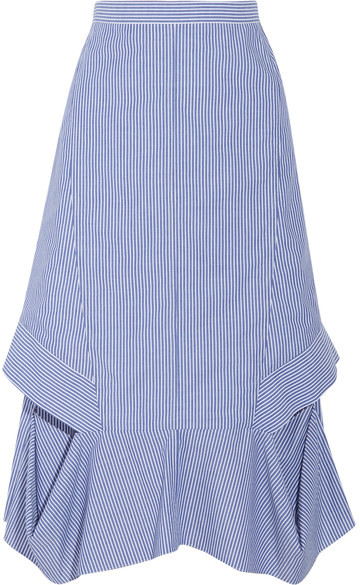 Chalayan Chalayan - Cutout Striped Cotton-poplin Midi Skirt - Blue