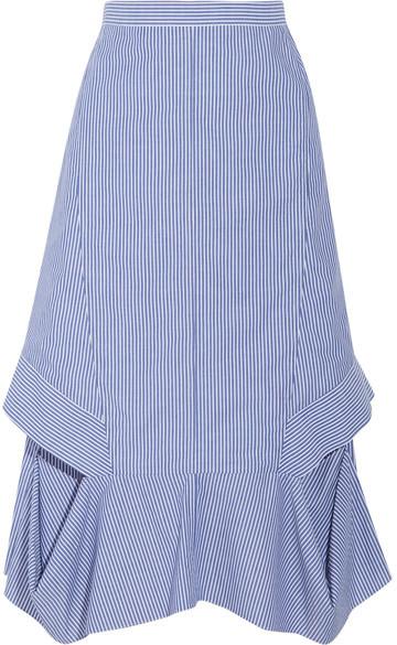 ChalayanChalayan - Cutout Striped Cotton-poplin Midi Skirt - Blue