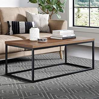 Nathan Home Solid Wood Coffee Table - Modern Industrial Space Saving Couch Living Room Furniture - Sofa Table