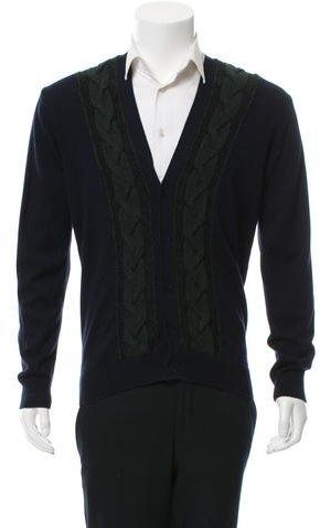 Paul SmithPS by Paul Smith Merino Wool Cable-Knit Trimmed Cardigan