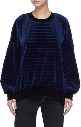 Sonia Rykiel Tie split back lurex stripe velour sweatshirt