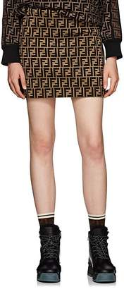 Fendi Women's Zucca Logo Cotton-Blend Miniskirt