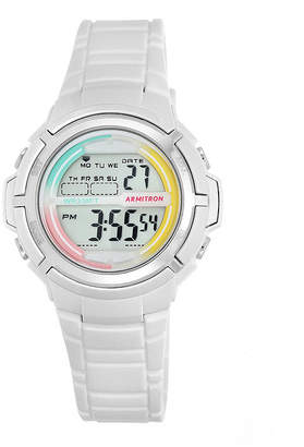 Armitron Womens White and Rainbow Accent Digital Sport Watch